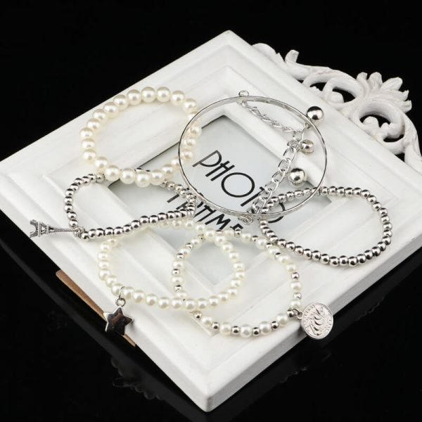 AB08 5 Piece Bracelet Set With Pearl Silver Beads