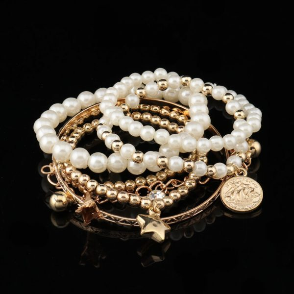 AB09 6 Piece Bracelet Set With Pearl Gold Beads 1