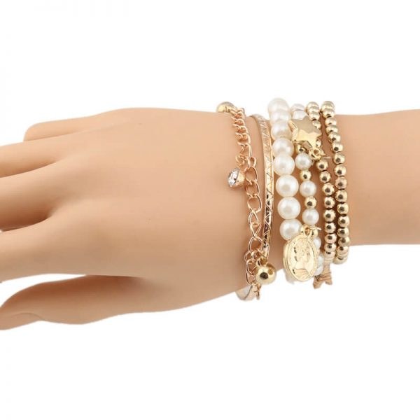AB09 6 Piece Bracelet Set With Pearl Gold Beads 2
