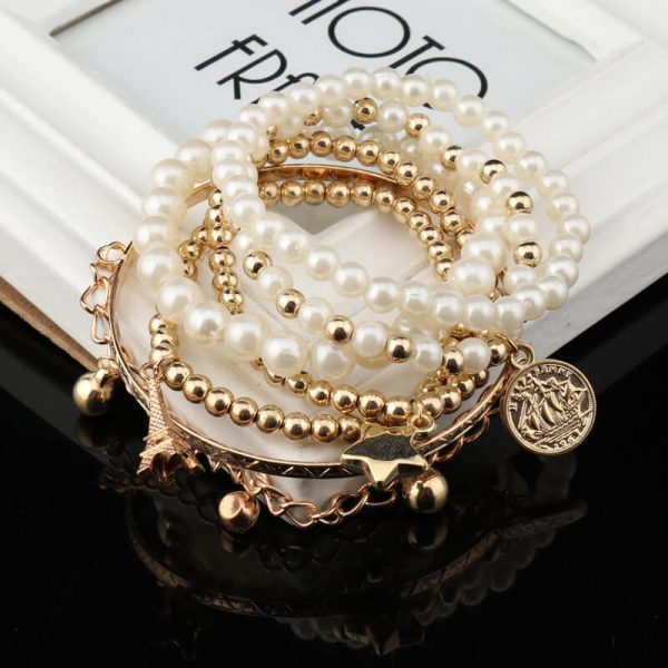 AB09 6 Piece Bracelet Set With Pearl Gold Beads