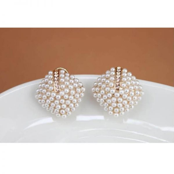 AE46 Gold Pearl Stud Earring Women Jewelry