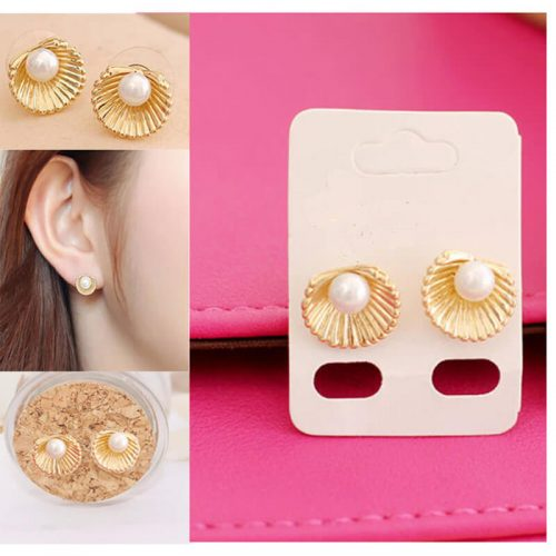 Shell Design Pearl Stud Earring Gold