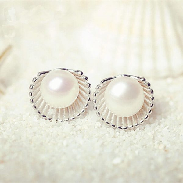 AE50 Shell Design Pearl Stud Earring – Silver