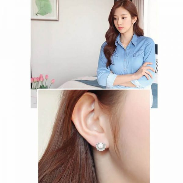 AE50 Shell Design Pearl Stud Earring – Silver4