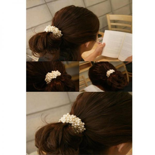 AH01 White Beaded Pearl Hair Band–