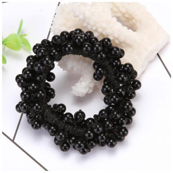 AH02 Black Beaded Pearl Hair Band