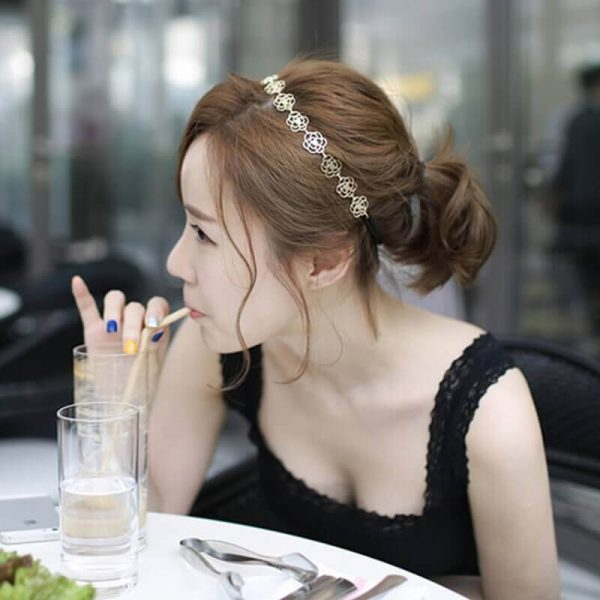 AH05 Gold Floral Head Hair Band 3