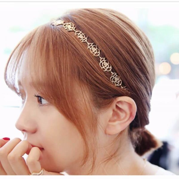 AH05 Gold Floral Head Hair Band