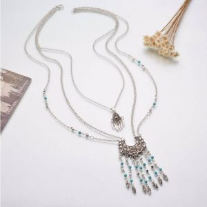 Antique Silver Necklace 3 Layer Turkish Jewelry