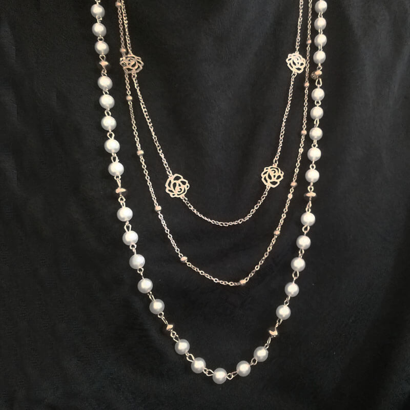 Gold Three Layer Long Necklace Pearl Beads Beads Classic
