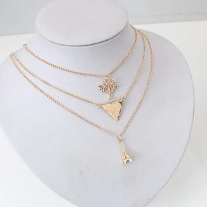 Gold Three Layer Multi Chain Fashion Necklace