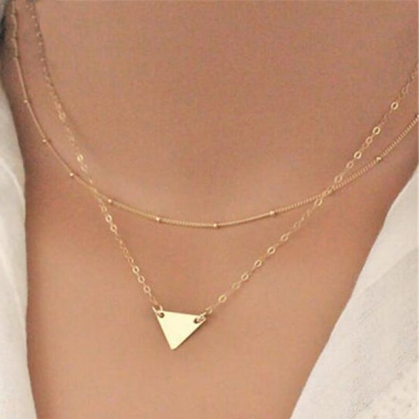 AN70 Gold 2 Layer Multi Chain Fashion Necklace