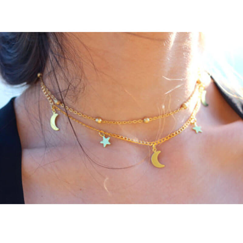Gold Star Moon Beads Necklace