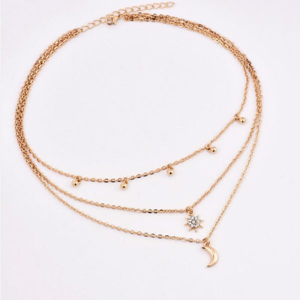 AN79 Gold Multi Chain Star Moon Beads Necklace2