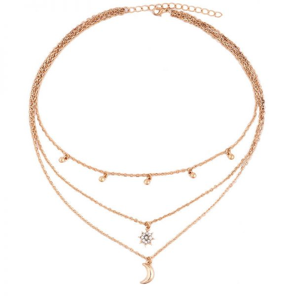 AN79 Gold Multi Chain Star Moon Beads Necklace3