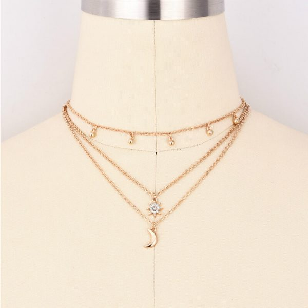 AN79 Gold Multi Chain Star Moon Beads Necklace4