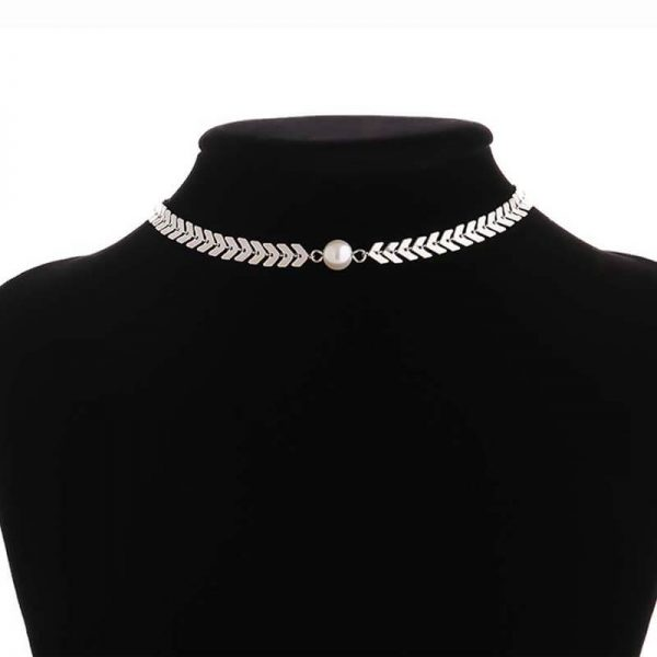 AN81 Silver Gorgeous Necklace Trendy With Pearl1