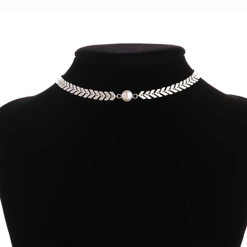 Silver Gorgeous Necklace Trendy With Pearl