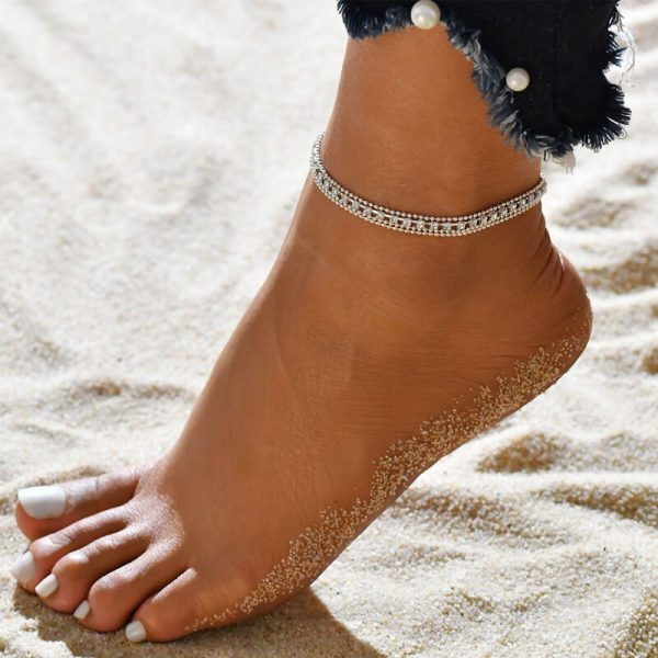 ANK07 Silver Multi layer Beads Stone Anklet