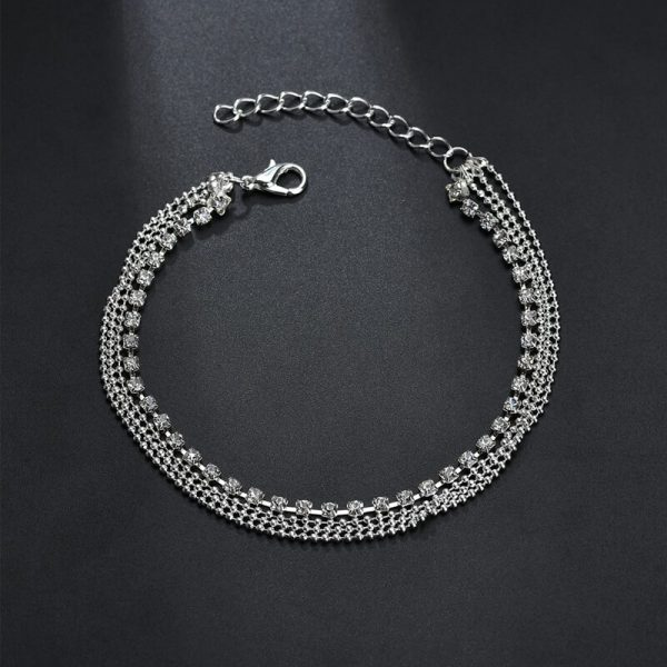 ANK07 Silver Multi layer Beads Stone Anklet1