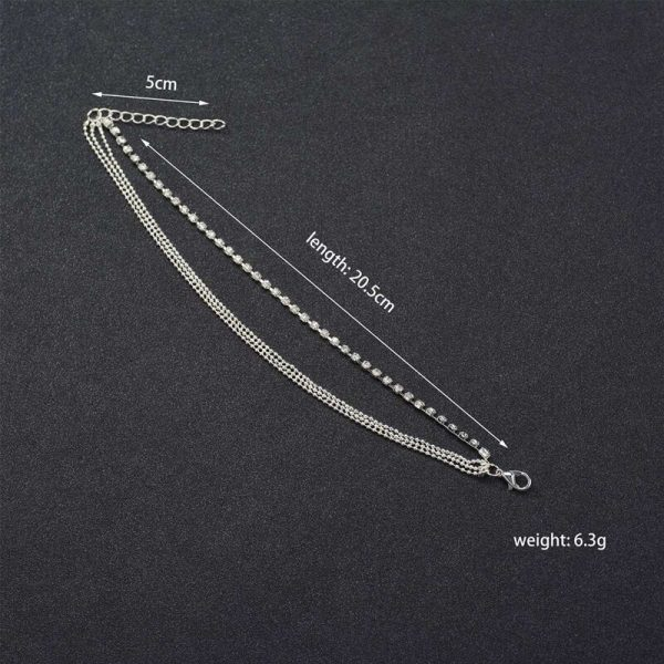 ANK07 Silver Multi layer Beads Stone Anklet2