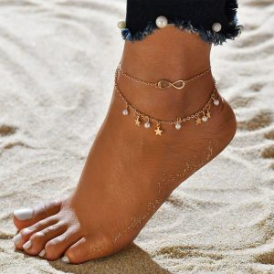 Gold Anklet Pearl And Star Design
