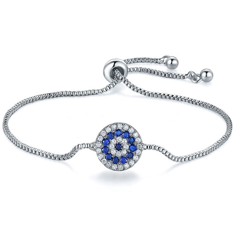 Adjustable Bracelet With Silver And Blue Stones - AB10