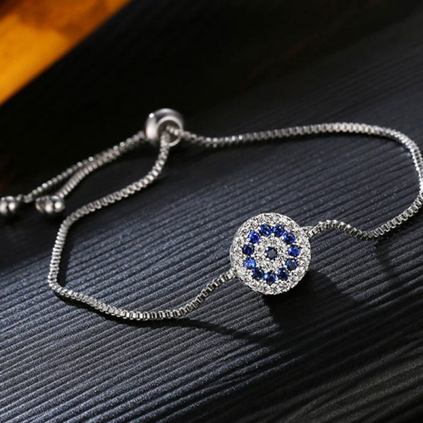 Adjustable Bracelet With Silver And Blue Stones – AB10-2