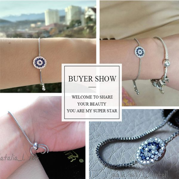 Adjustable Bracelet With Silver And Blue Stones – AB10-3