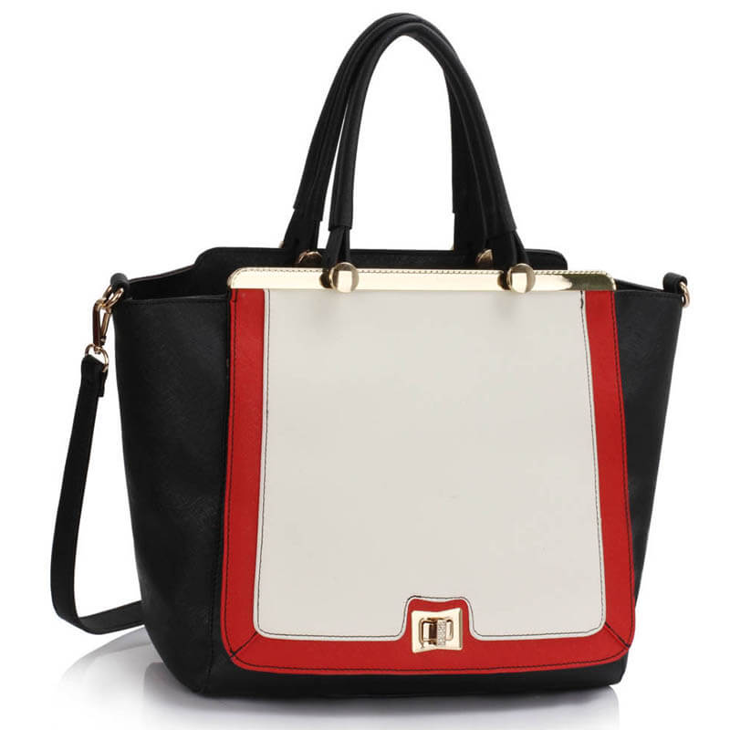 Black White Red Metal Frame Tote Handbag