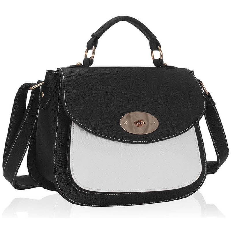 Black White Shoulder Tote Handbag - LS00238A