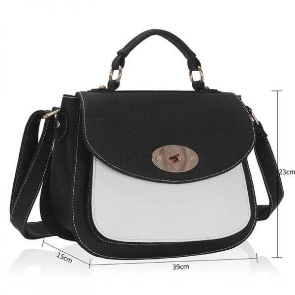 Black White Shoulder Tote Handbag – LS00238A_(4)