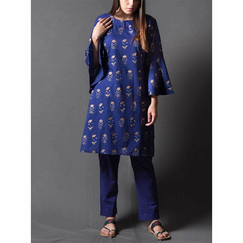 Blue Lawn Kurti and Trouser 2 Piece Stitched Dress
