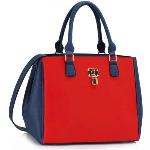 Blue Orange Padlock Tote Handbag