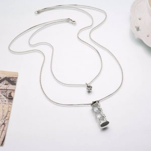 Double Chain Long Silver Necklace With White Crystals