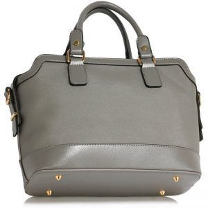 Grey Buckle Detail Tote Shoulder Bag