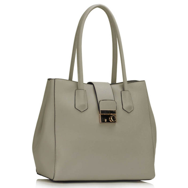 Grey Shoulder Tote Handbag