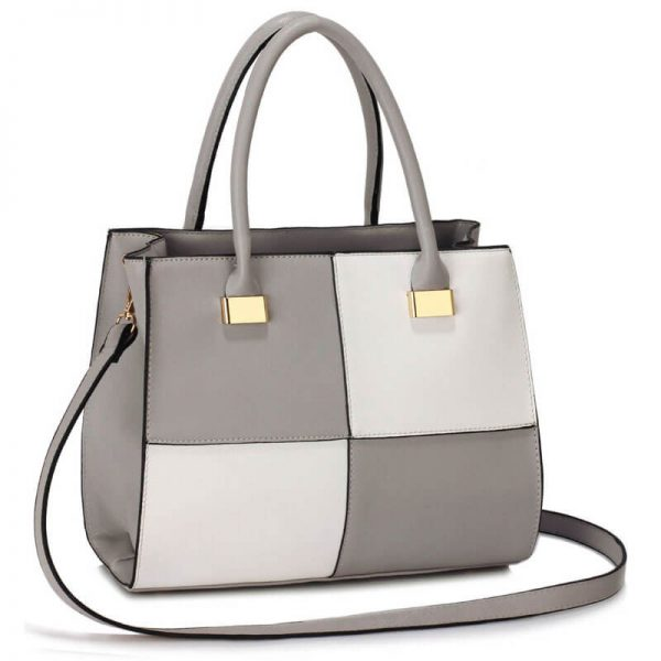 Grey White Fashion Tote Handbag – LS00153M_(1)
