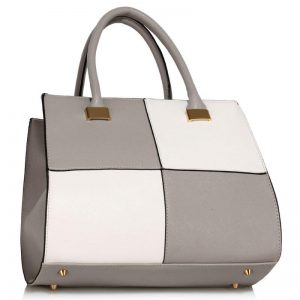 Grey/White Fashion Tote Handbag