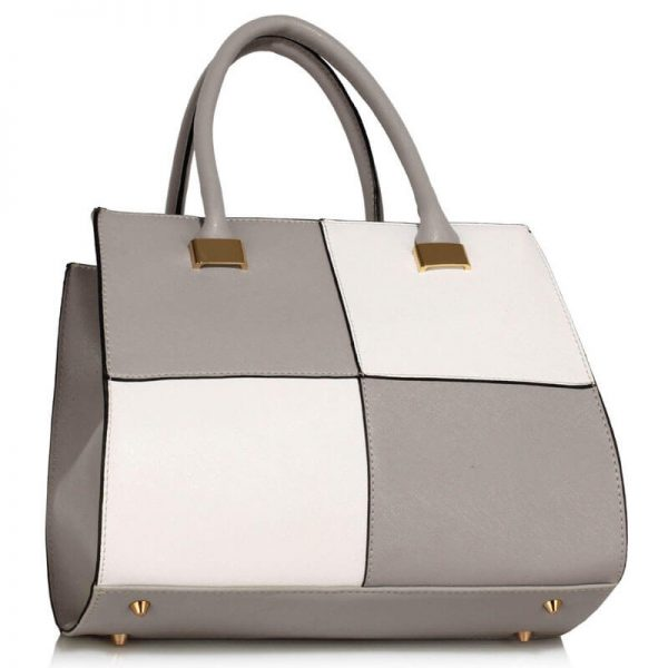 Grey White Fashion Tote Handbag – LS00153M_(2)