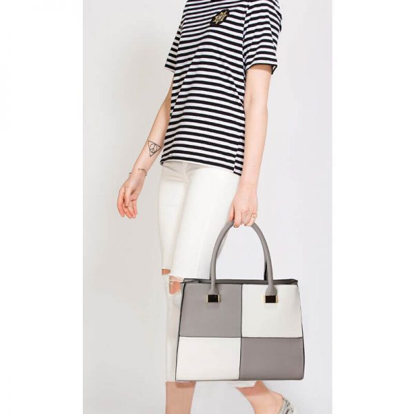 Grey White Fashion Tote Handbag – LS00153M_(5)