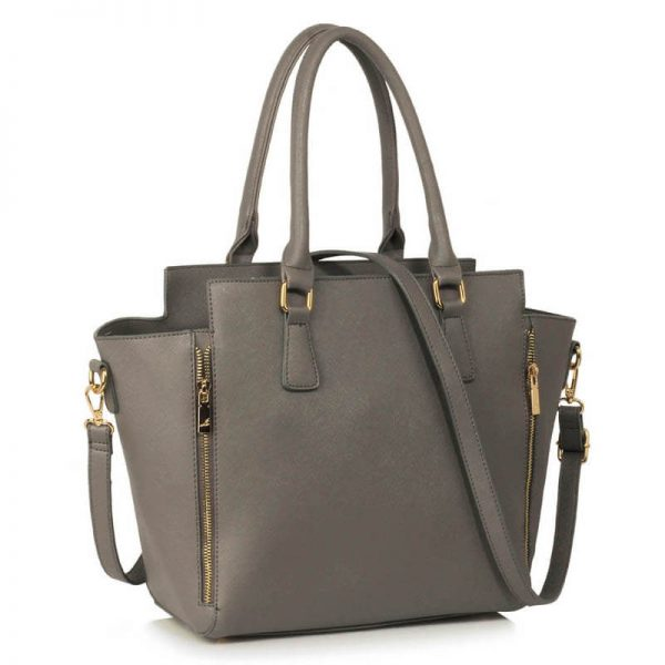 Grey Zipper Tote Shoulder Bag – LS00314A