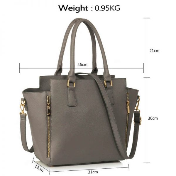 Grey Zipper Tote Shoulder Bag – LS00314A(4)
