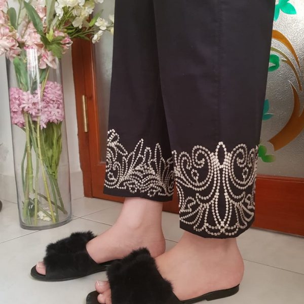KT23 WEB Black Trouser With Beige Embroidery