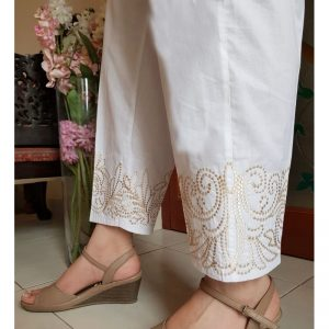 White Trouser With Beige Embroidery - KT24