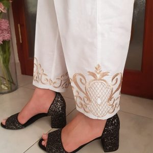 White Trouser With Beige Embroidery