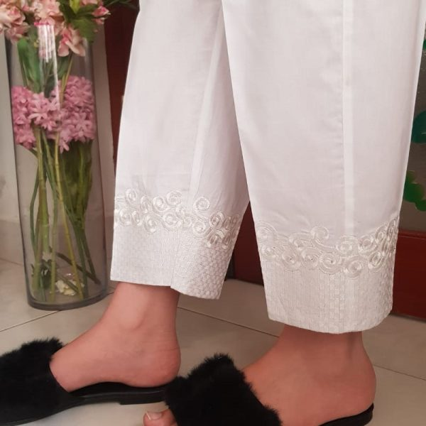 KT30 White Cotton Embroided Trouser