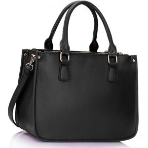 3 top zip black tote handbag