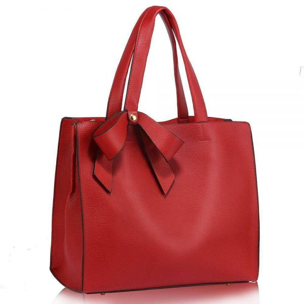 LS00236-RED_Bow Tie Shoulder Tote Bag_1_