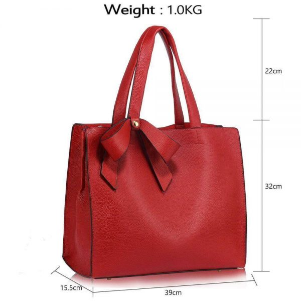 LS00236-RED_Bow Tie Shoulder Tote Bag_5_